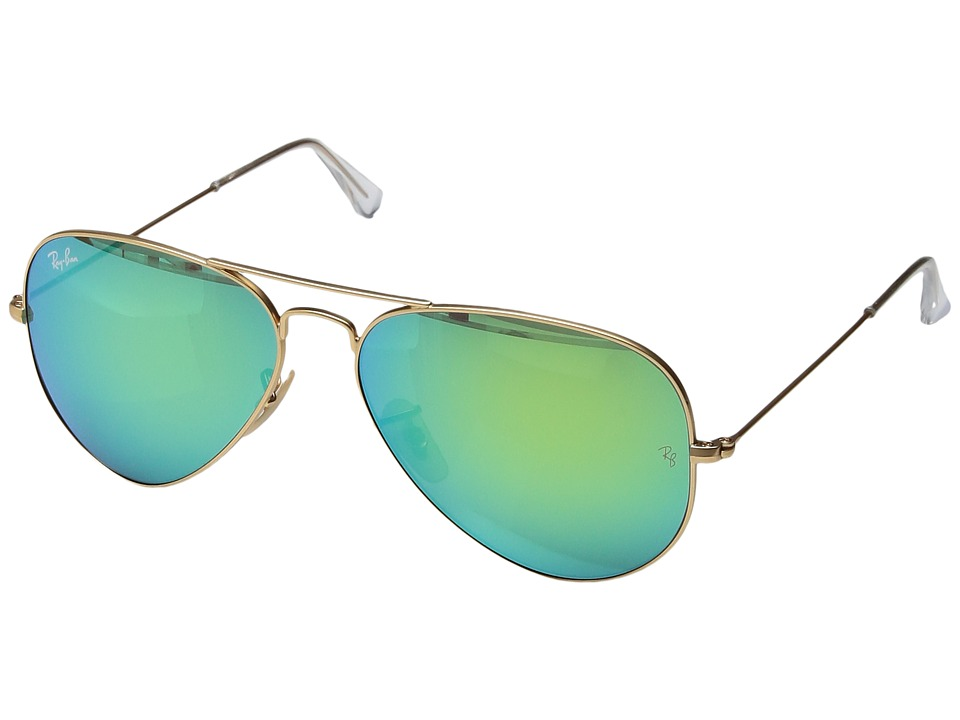 Ray-Ban - RB3025 Original Aviator 58mm (Matte Gold/Green Mirror) Metal Frame Fashion Sunglasses