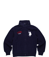 U.S. Polo Assn Kids - Fleece Track Jacket with Hidden Nylon Hood (Big Kids)