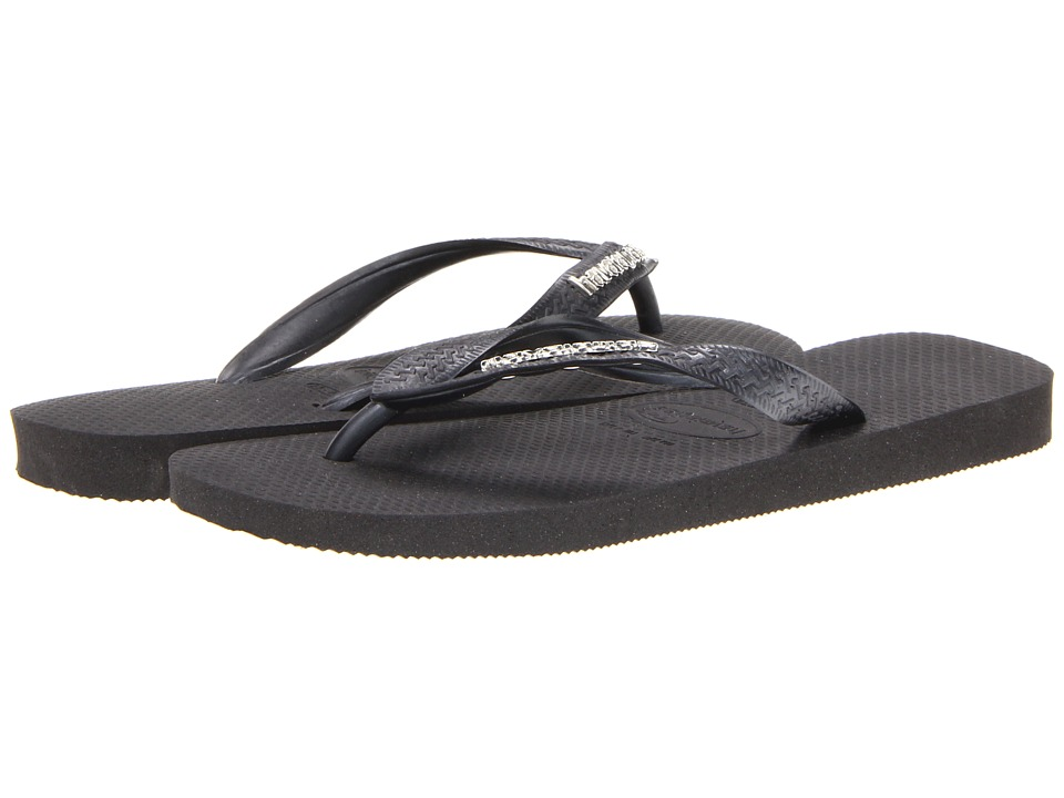 Havaianas Top Logo Metallic Flip Flops Black/Grey Womens Sandals