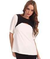 Tibi - Short Sleeve Cut Out Top with Basketweave Combo