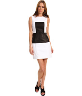 Tibi - Sleeveless Paneled Dress with Leather Combo
