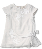 Chloe Kids - Cotton/Silk Dress w/ Embroidery Flowers and Knot (Toddler)