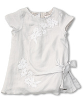 Chloe Kids - Cotton/Silk Dress w/ Embroidery Flowers and Knot (Infant)