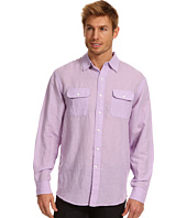 IZOD - Long Sleeve 2-Pocket Linen Solid Button Up