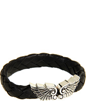 King Baby Studio - Small Leather Braided Bracelet with Wing Clasp