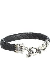 King Baby Studio - Small Black Leather Braided Bracelet with Crown Toggle Clasp