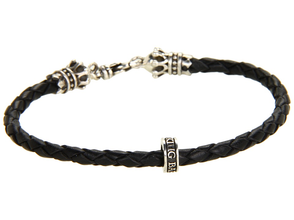 King Baby Studio Thin Leather Braided Crown Bracelet Black/Silver Bracelet