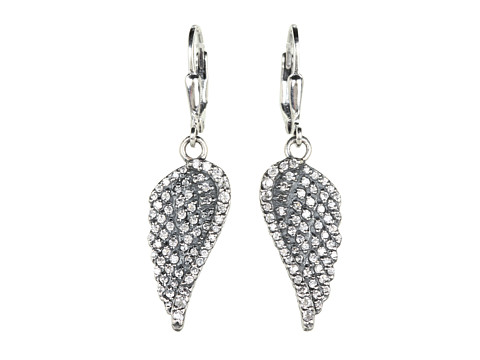 King Baby Studio Small CZ Pavé Wing Leverback Earrings