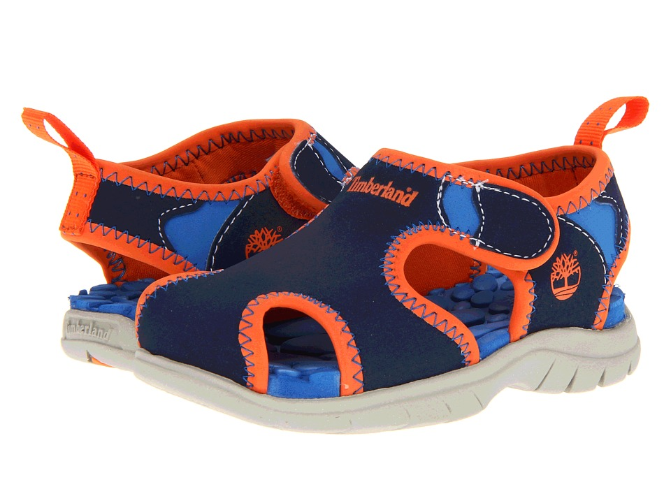 Timberland Kids Little Harbor (Toddler/Little Kid) (Navy w/ Royal/Orange) Boys Shoes