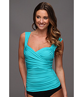Badgley Mischka - Solids Wide Strap Draped Front Tankini