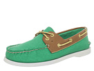 Sperry Top-Sider - A/O 2 Eye (Green Salt Washed Canvas/Cognac)