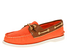 Sperry Top-Sider - A/O 2 Eye (Neon Orange Salt Washed Canvas/Cognac)