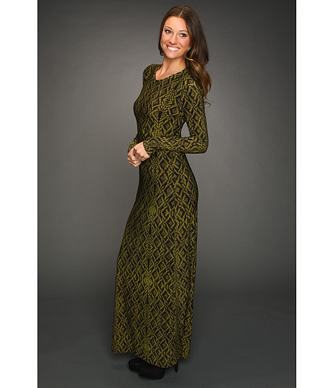 KAMALIKULTURE - L/S Crew Neck Maxi Dress (Olive Lace Fencing) - Apparel