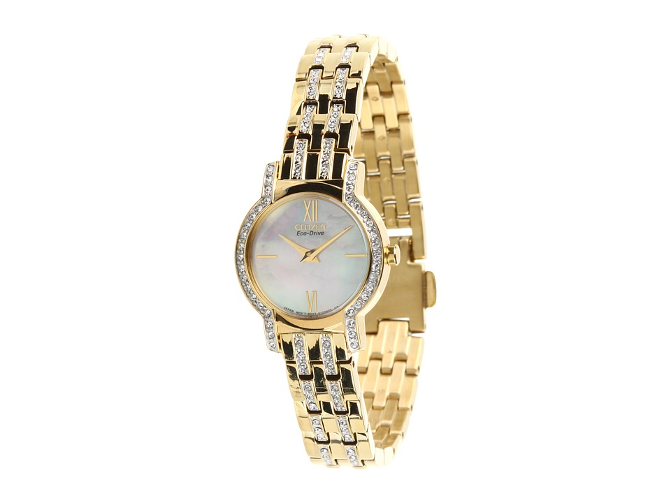 Citizen Watches EX1242 56D Eco Drive Silhouette Crystal Watch Gold Tone Stainless Steel Analog Watches
