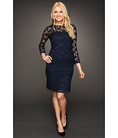 Eliza J - Navy Lace Dress w/ Tiered Skirt