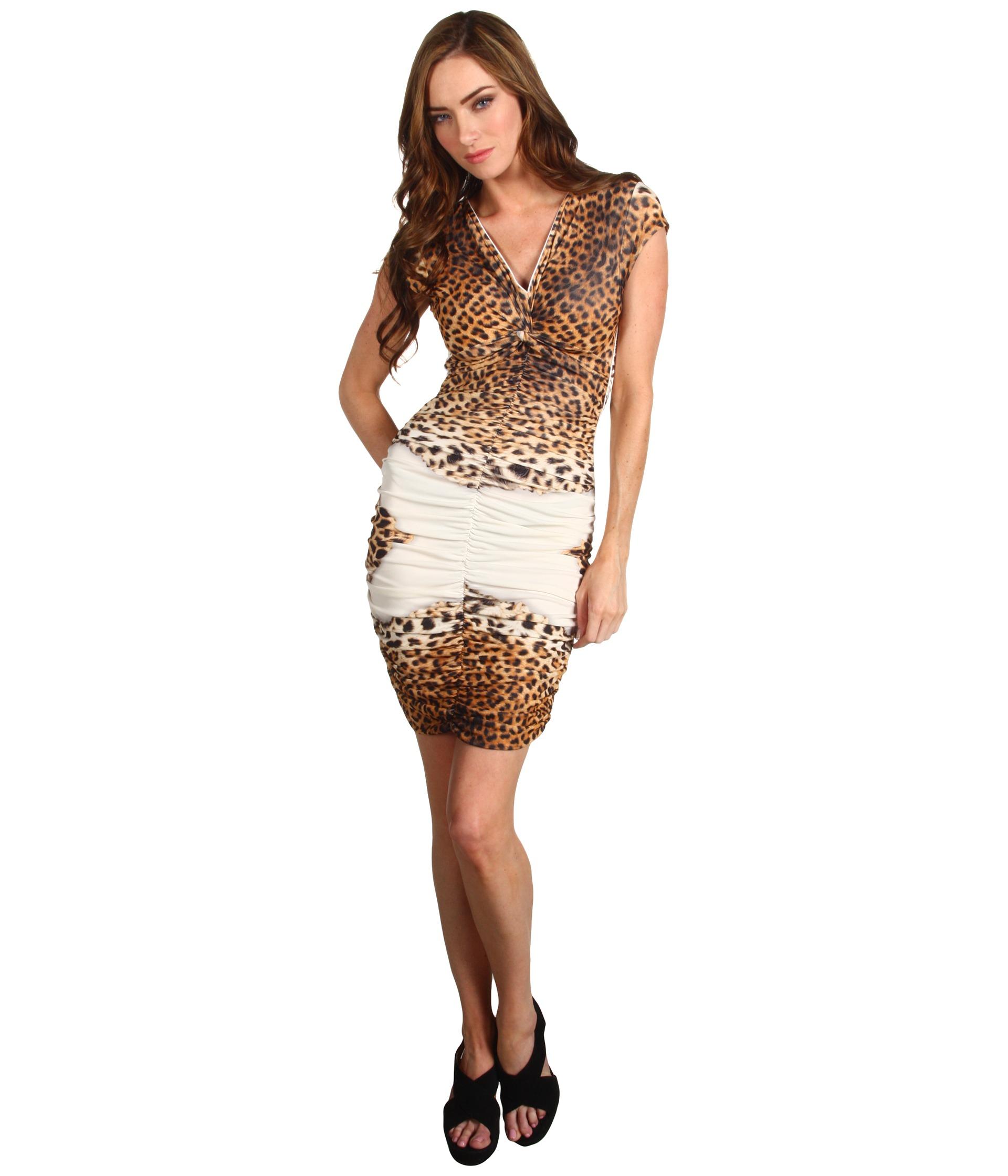 Just Cavalli Leopard Print Ruched Dress