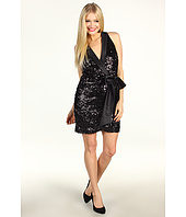 Laundry by Shelli Segal - Faux Wrap Sequin Dress