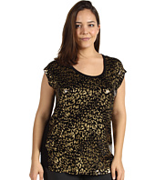 MICHAEL Michael Kors Plus - Plus Size Cheetah Foil Short Sleeve Wedge Top