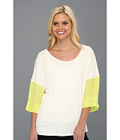 Halston Heritage - T-Shirt with Colorblock Sleeve