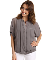Halston Heritage - Short Sleeve Button Front Detail Bubble Hem Top