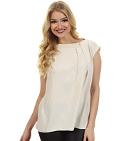 Halston Heritage - Cap Sleeve Boatneck Top with Rib Trim