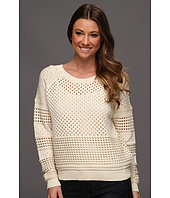 Halston Heritage - Long Sleeve Crewneck Sweater with Hole Detail