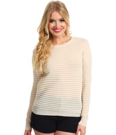 Halston Heritage - Long Sleeve Ottoman Stitch Crewneck Sweater