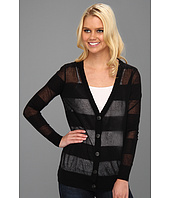 Halston Heritage - Long Sleeve Deep V Striped Button Down Cardigan