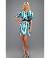 Halston Heritage - Shirtdress with Overlay Detail and Belt