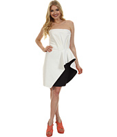 Halston Heritage - Strapless Dress with Waist Ruffle Detail
