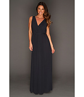 Halston Heritage - S/L V-Neck Pleated Gown