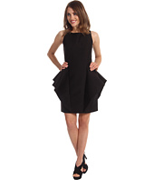 Halston Heritage - S/L Sheath Dress with Side Peplum Ruffle