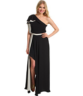 Halston Heritage - One Shoulder Colorblock Ruffle Gown