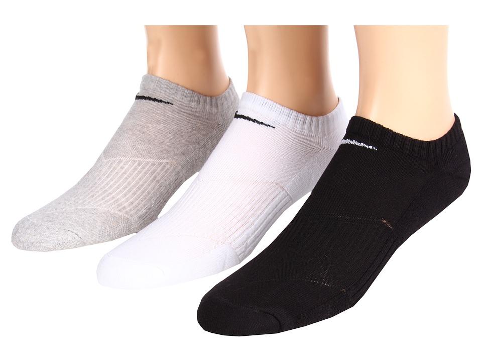 Nike Kids Cotton Cushion No Show Socks w/ Moisture Management 3 Pair Pack Little Kid/Big Kid White/Grey Heather/Black Kids Shoes