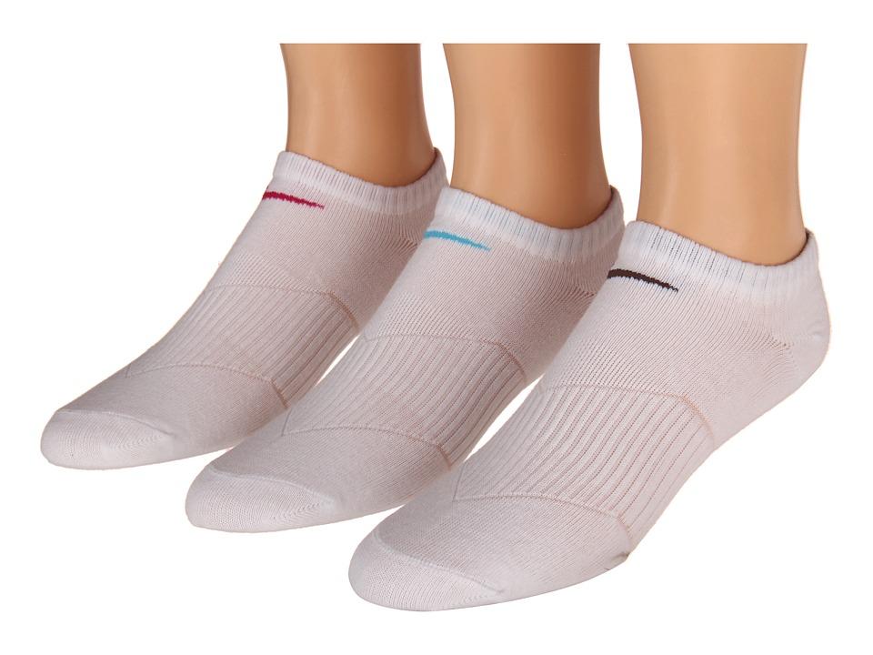 Nike Kids - Lightweight Cotton Cushion Moisture Management No Show 3-Pair Pack (Toddler/Little Kid/Big Kid) (White/(Fuchsia)/(Dark Iris)/(Baltic Blue)) Girls Shoes