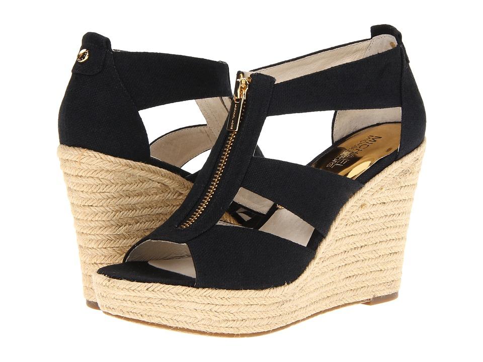 Michael Kors Damita Wedge (Black Canvas) Women's Wedge Shoes