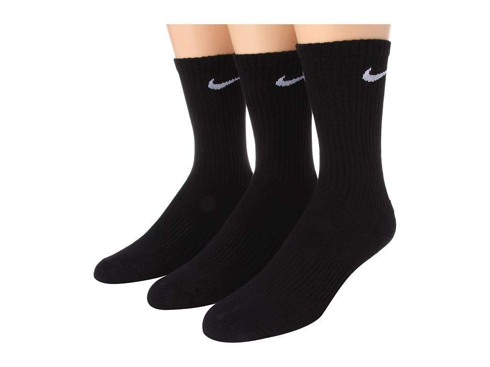 Nike Kids - Cotton Cushion Moisture Management Crew Sock 3-Pair Pack (Little Kid/Big Kid) (Black/(White)) Boys Shoes