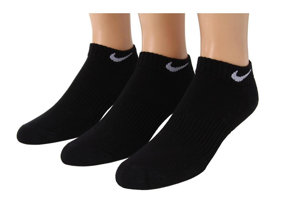 Nike Kids - Cotton Cushion Moisture Management Low Cut 3-Pair Pack (Little Kid/Big Kid) (Black/(White)) Boys Shoes