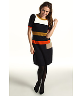 Jessica Howard - Shirred Sleeve Ribbed Neck Colorblock Dress