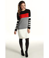 Jessica Howard - Long Sleeve Ribbed Neck Colorblock Sheath Dress