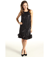 Jessica Howard - Sequin Shift Dress w/Charmeuse Ruffle At Hem