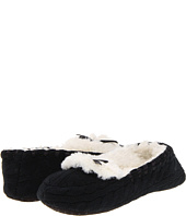 Anne Klein - Fur Lined Cable Knit Mocassin w/ Ribbon Trim And Bow