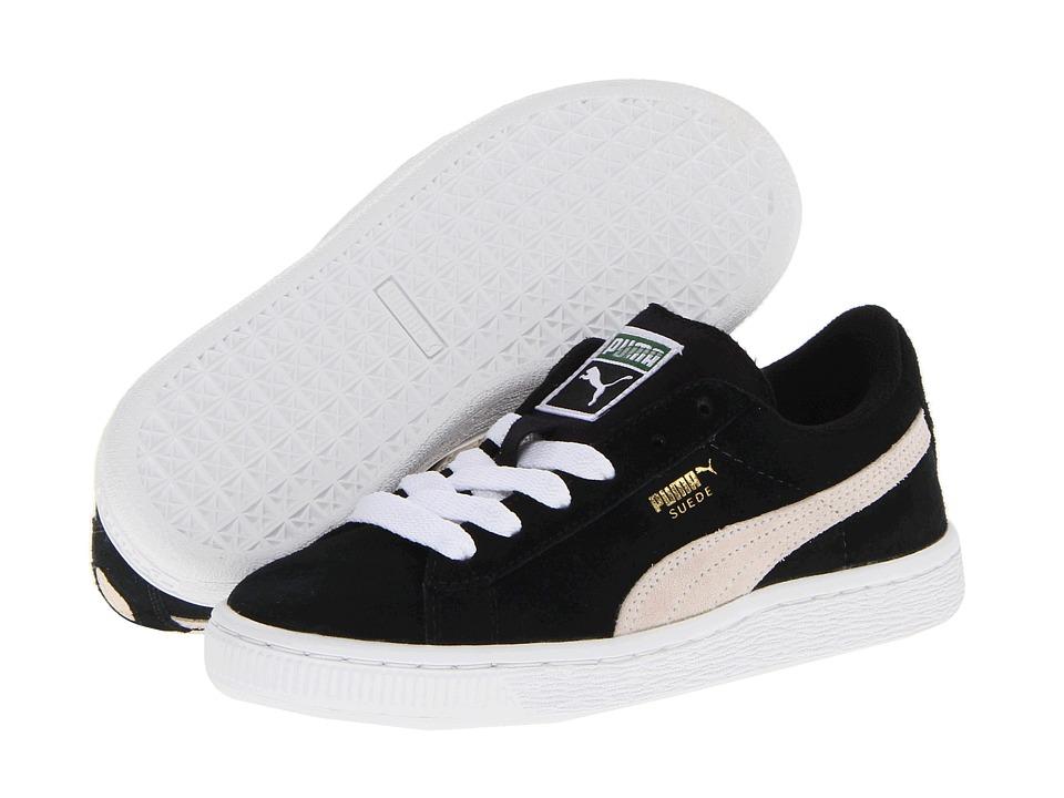 Puma Kids - Suede Jr (Little Kid/Big Kid) (Black/White) Kids Shoes