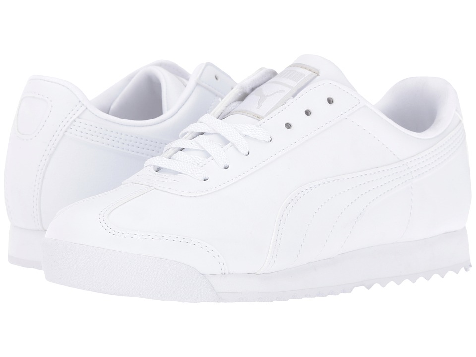 Puma Kids Roma Basic Jr. (Big Kid) (White/Light Grey) Boys Shoes