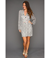 Tbags Los Angeles - Split Front Tunic Dress with Colored Gems Embellishment