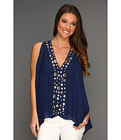 Tbags Los Angeles - V-Neck Sleeveless Tunic with Clear Gems Embellishment