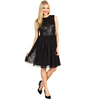 Maggy London - Sleeveless Beaded Mesh Party Dress