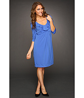 Donna Ricco - Elbow Sleeve Ruffle Front Dress