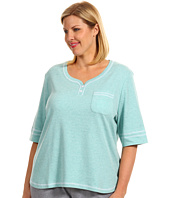 Karen Neuburger - Plus Size IVP Elbow Sleeve Henley Top