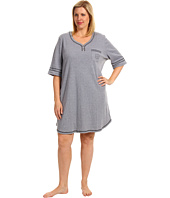 Karen Neuburger - Plus Size IVP Elbow Sleeve Henley Nightshirt